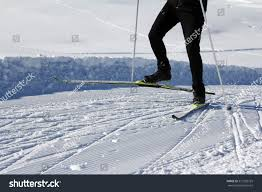go crosscountry skiing winter skating popular stock photo