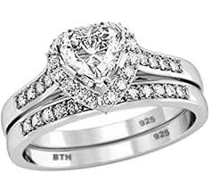 bridal ring sets uk ring set 925 sterling silver luxury unique heart shape