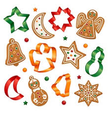 christmas cookies and cookie cutters royalty free vector