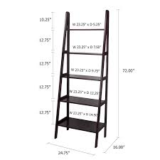 5 Shelf Ladder Bookcase by Amazon Com Casual Home 5 Shelf Ladder Bookcase Espresso Kitchen