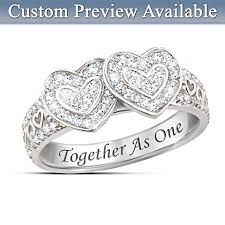 rings with names engraved together as one white topaz couples heart ring hides two names