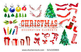 New Year Decoration Elements by Vector Watercolor Artistic Christmas Tree Isolated Stock Vector