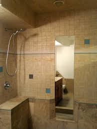 bathroom travertine tile wall with shower mirror for small