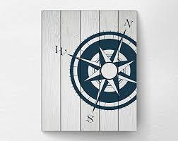 wood compass wall nautical compass wall print poster decor navy