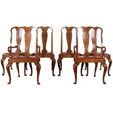 set of six walnut queen anne style dining chairs by baker at 1stdibs