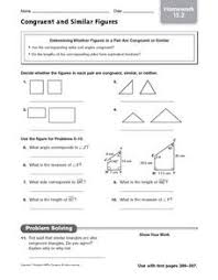 Similar And Congruent Figures Worksheet Congruent And Similar Figures Homework 15 2 5th 8th Grade