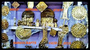 sacred puja items made with brass found at handicrafts fair