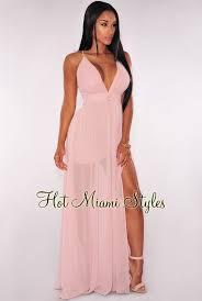 blush maxi dress crisscross back high front slit maxi dress