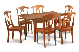 Oval Dining Table Set For 6 7pc Kitchen Rectangular Table And 6 Wood Napoleon Styled Chairs