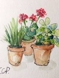 potted blooms watercolor card by gardenblooms on etsy art