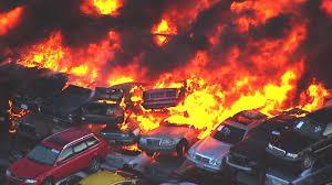 car yard junkyard crews battling massive fire at richmond auto wrecking yard