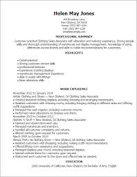 sales associate resume clothing sales associate professional summary and work experience