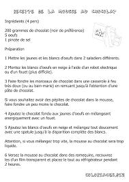 recette de cuisine a imprimer coloriage recette coloriage de la mousse en chocolat gratuit