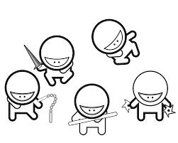 cartoon ninjas black white line studiofibonacci coloring sheet