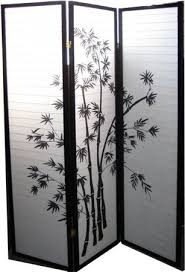 asian room divider in three panels in black and white bamboo 71 u0027 u0027h