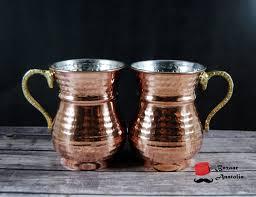 amazon com set of 2 solid turkish copper mug hammered solid