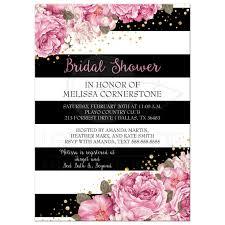 bridal shower invitation black stripes pink flowers and gold