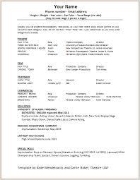 theatre resume theater resume sles exles of actors resumes acting resume
