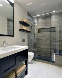 Bathroom With Wood Tile - modern walk in showers small bathroom designs with walk in