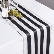 bella lux fine linens table runner 14 x 108 in black white striped satin table runner barbie