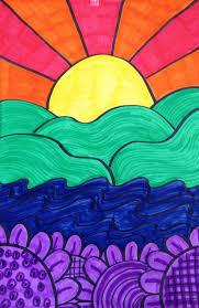 Cool Art Project Ideas by Landscape Color Wheel Oil Pastel Blending Texture Warm Vs