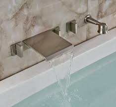 led waterfall tub faucet with pull out hand shower wall mount