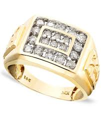 men gold ring men s 14k gold ring diamond 1 ct t w rings jewelry
