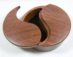 trinket box yin yang design jarrah timber swivel lids