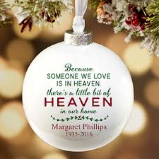 memorial christmas ornaments heaven in our home personalized deluxe memorial ornament memorial
