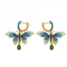green stud earrings blue butterfly vintage handmade enamel 925 silver green jasper
