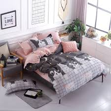 Cotton Bedding Sets Blue Pink Gray Simple Size 4pcs Bedding Sets Cotton Bed