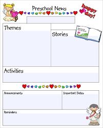 kindergarten newsletter templates free formats excel word