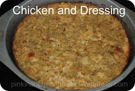 chicken and dressing a southern favorite pink in a