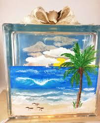 Ocean Home Decor by Ocean Night Light Glass Block Lamp Painted Glass Block Ocean