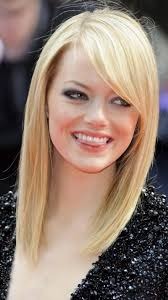 shorter hairstyles with side bangs and an angle straight blonde hairstyles with side bangs for round faces