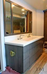 Trough Bathroom Sink With Two Faucets by Black Stained Concrete Countertops Contemporary Home Design