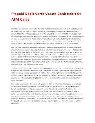 bank prepaid debit cards prepaid debit cards versus bank debit or atm cards