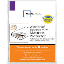 Vinyl Crib Mattress Cover by Mainstays Waterproof Zippered Vinyl Mattress Protector Walmart Com