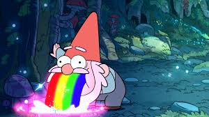 Puking Rainbow Meme - gnome puking rainbows gravity falls walldevil