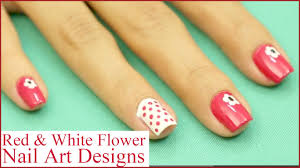 step by step red u0026 white flower nail art designs tutorial youtube