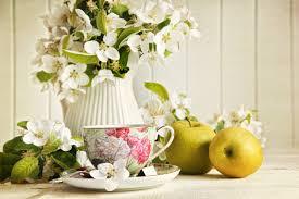 Jasmine Flowers Wallpaper Cup Tea Jasmine Flowers Jug Apples Green Hd