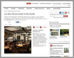 southern living home decor parties july 2015 u2013 the river and rail named 100 best restaurants in the