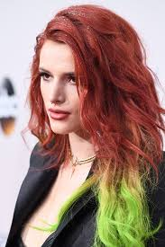 how to put red hair in on the dide with 27 pieceyoutube bella thorne s rainbow hair at the american music awards