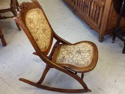 Folding Rocking Chair Vintage Victorian Wood Folding Rocking Chair By Fromtheborder