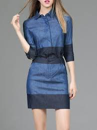 blue color block 3 4 sleeve shirt collar two piece denim mini