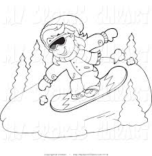 sports clip art of a outlined snowboarding by visekart 7718