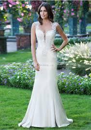 wedding dress sheath column bateau sweep train with appliqued
