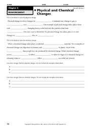 physical chemical properties changes worksheet free worksheets