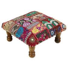 Ottoman Trade Fair Trade Embellished Foot Stool Ottoman From India Paisley