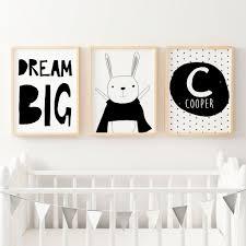 personalised birth prints baby name wall art the kids print boys nursery or bedroom wall art decor print set superhero bunny dream big name print